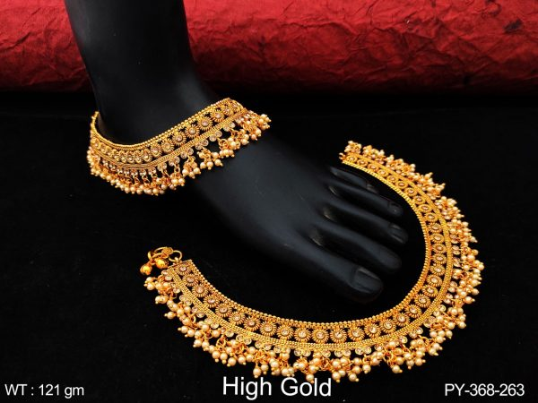 Antique Designer Beautiful High Gold Polish Clustered Pearl tassels full white stones Fancy Style Payal
