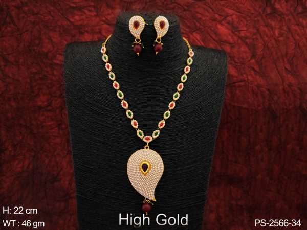 Designer Fancy Style Beautiful high Gold Polish full white Clustered Pearl Party wear Long Pendant Necklace Set
