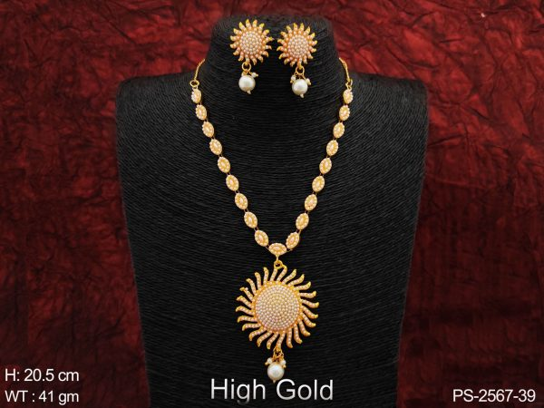 Beautiful High Gold Polish Designer Full Clustered Pearl Sun Design Pendant Party Fancy Style Long Pendant Necklace Set