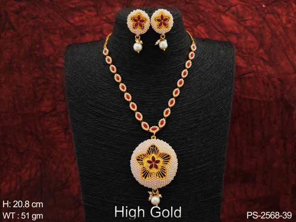 Full Clustered Pearl Beautiful Designer High Gold Polish Party wear Round Big Pendant Long Pendant Necklace Set
