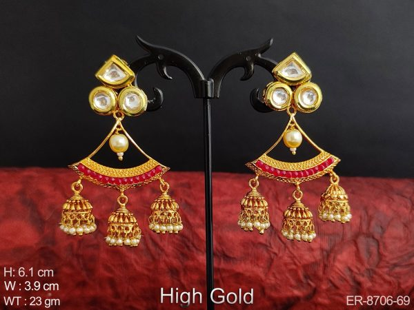 Antique Designer Fancy High Gold Polish Party wear Jhumka Earrings