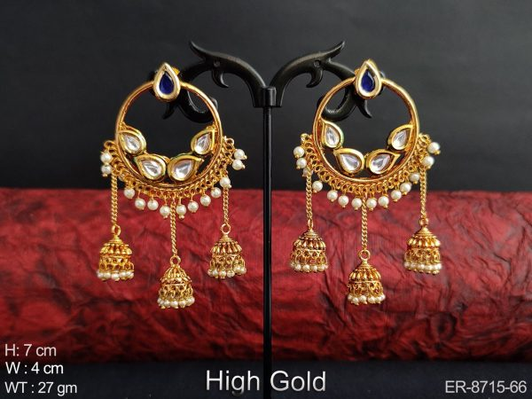 Beautiful Designer Antique High Gold Polish Clustered Pearl Ring Style Party wear Long Jhumka Earring