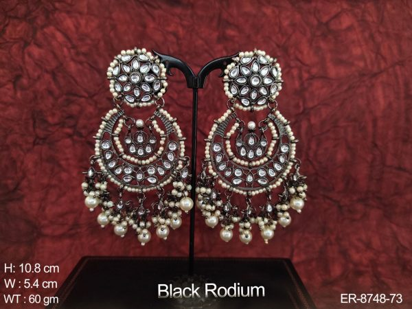 Beautiful Kundan White Stones Black Rodium Polish clustered Pearl Fancy Designer Party wear Long Earring