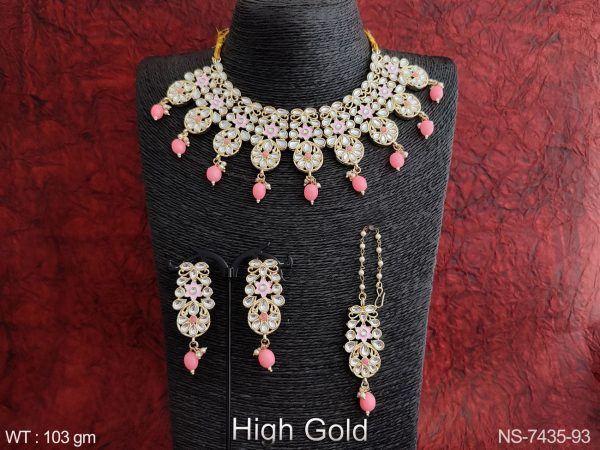 Designer Kundan Jewelry Fancy Stylish High Gold Polish Clustered Pearl Party wear Necklace Set with Maang Tikka