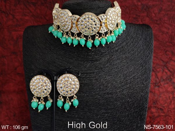 Designer Kundan Jewelry full white stone Clustered pearl High Gold Polish Party Choker Necklace set