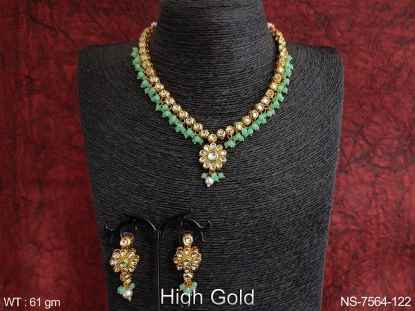 Designer Fancy Style High Gold Polish Party wear Full white Stones Antique Necklace Set