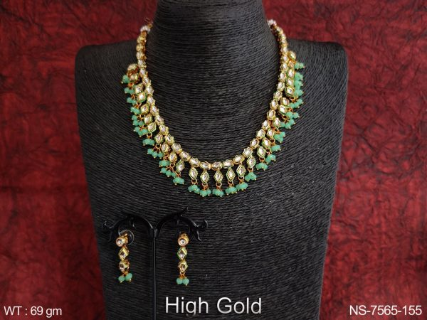 High Gold Polish Fancy style Tassels full white Stones Antique Designer Party wear Necklace Set