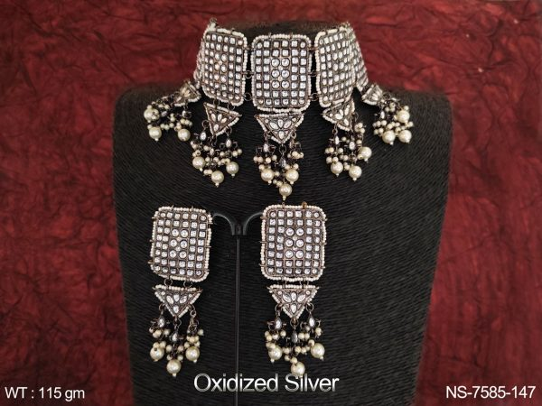 Beautiful Oxidized Silver Polish Fancy style full Kundan white Stones Clustered Pearl Party wear Choker Necklace Set