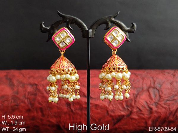 Beautiful Meenakari Design High Gold Polish full white stones Clustered Pearl Fancy Party wear Long Jhumka Earring