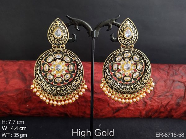 Beautiful Fancy Style Meenakari Design full white stones Clustered Pearl Party wear Designer Long Earring