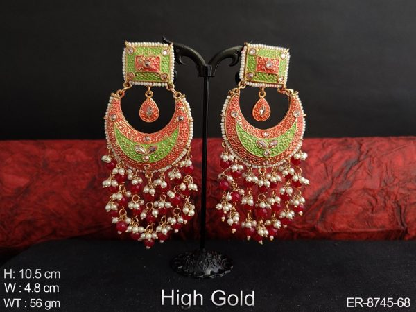 Beautiful meenakari High Gold Polish Full stone clustered pearl Chand Bali Shape Designer long party wear Earring