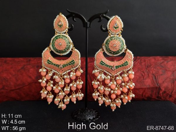 Meenakari Beautiful Fancy Stylish High Gold Polish Clustered Pearl tassels Designer Party wear Long Fashion Earring