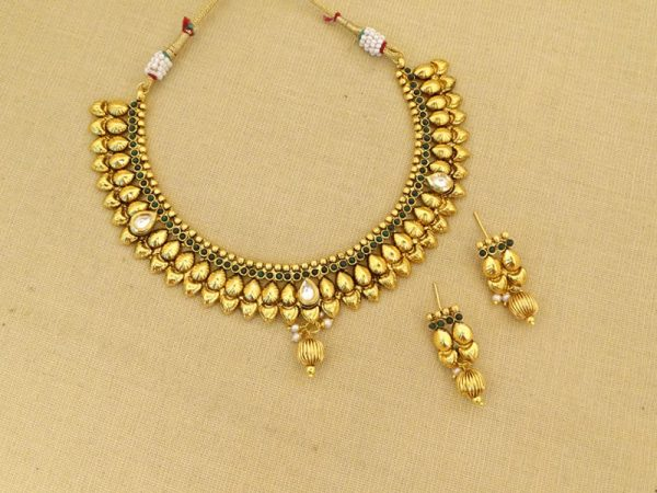 oval gold beads gold necklace set