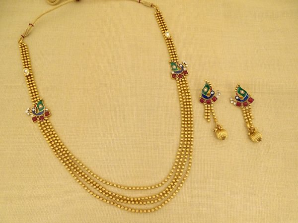 duet double strades peacock side necklace set