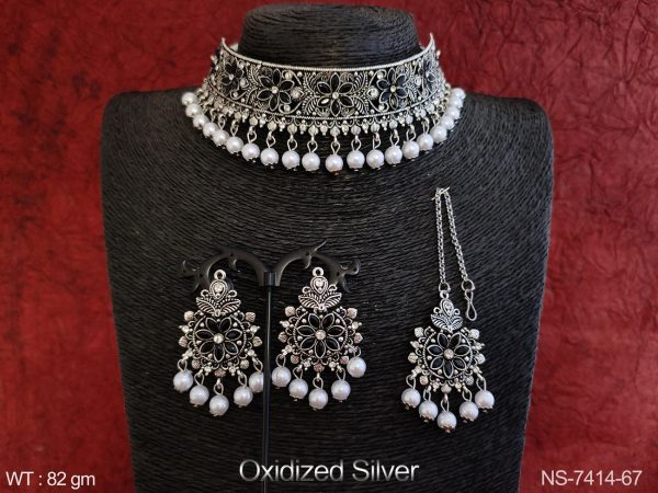 OXidized Silver Polish Beautiful Designer Clustered Pearl full white Stones Party wear Choker Necklace Set