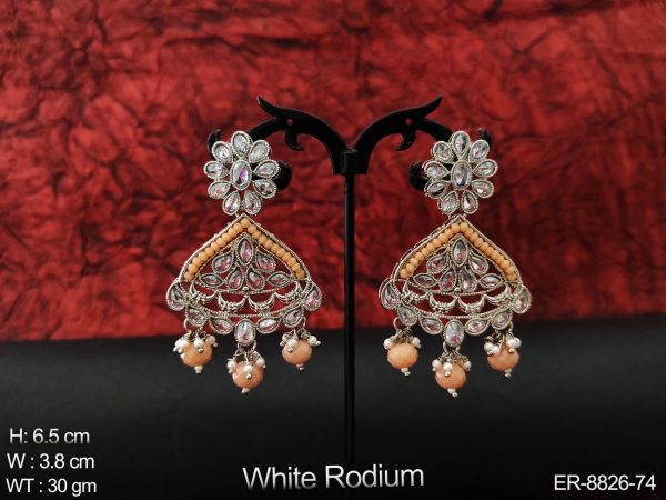 AD / Cz Beautiful full white stones white Rodium Designer Clustered Pearl Tassels Party wear Fancy Style Long Earring