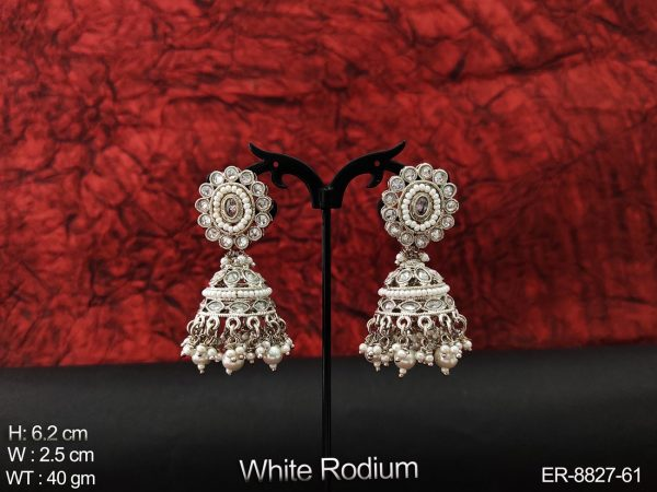 Beautiful Cz / AD full white stones white Rodium Clustered Pearl Tassels Party wear Fancy Style Jhumka Long Earring