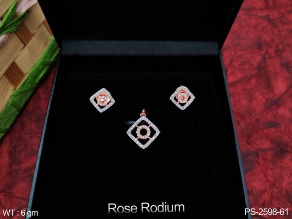 Fancy Style Designer Beautiful Rose Rodium Polish Full Cz / AD with stones Party wear Pendant with Earring