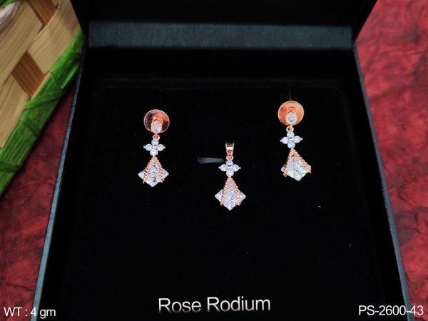 Beautiful Fancy Style Designer Rose Rodium Cz / AD full white stones Party wear Pendant with Earring
