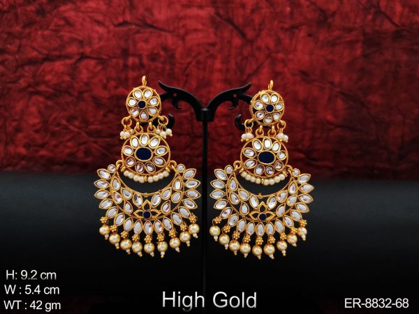 Beautiful Chand Bali Design Antique Full white stones clustered Pearl High Gold Polish Party wear Fancy Long Earring