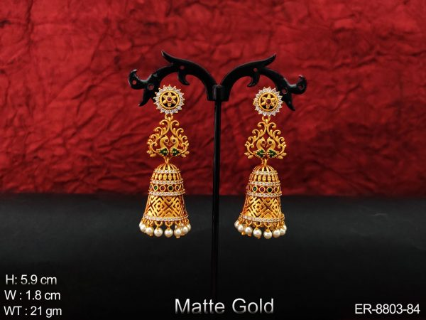 Kemp Jewelry Beautiful Designer Matte Gold Polish Peacock Design clustered Pearl Jhumka Style Party wear Long Earring