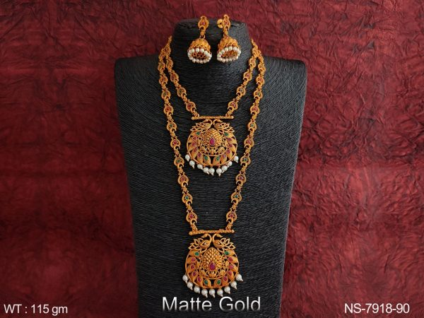 Beautiful Matte Gold Polish Kemp Jewelry Clustered Pearl full Stones Designer Party wear Fancy Long Necklace Set