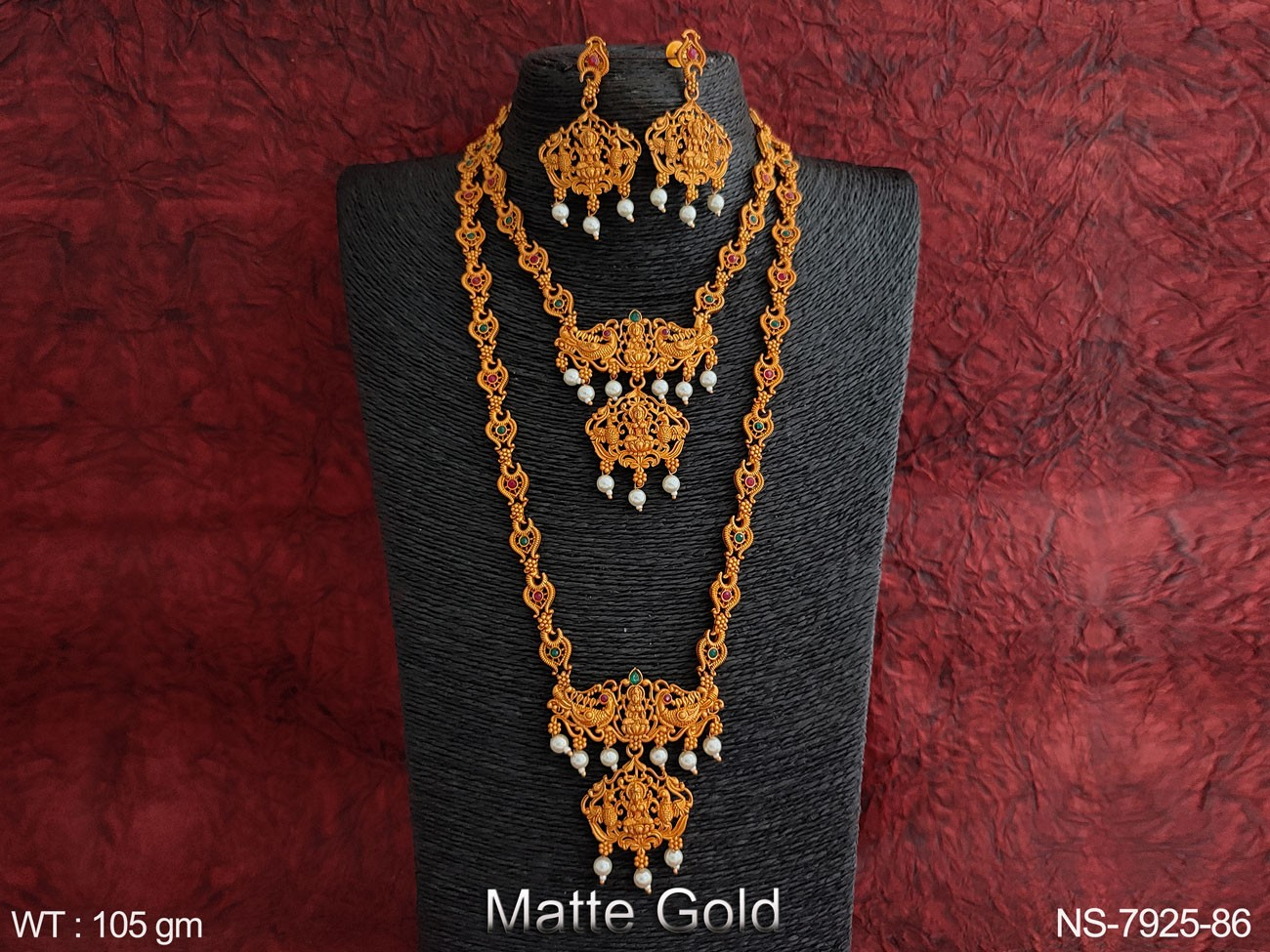 Designer Fancy Style Matte Gold Polish Kemp Jewelry Beautiful Full Stones Clustered Pearl Long Necklace Set
