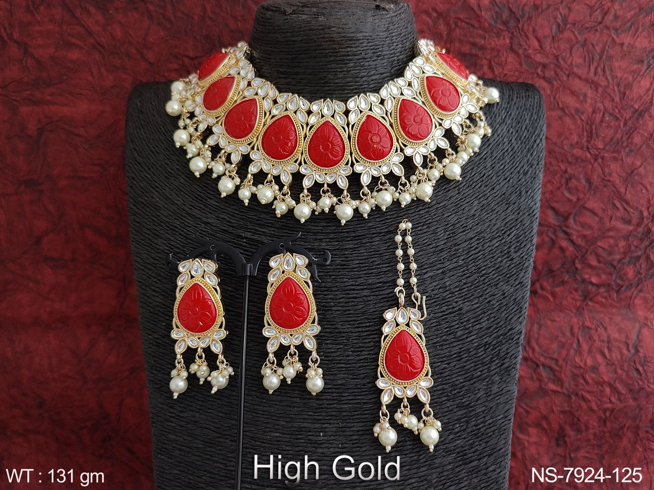 Beautiful Kundan Jewelry Full white Stones High Gold Polish Designer Party wear Clustered Pearl Choker Necklace Set