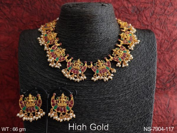 Temple Jewelry Beautiful Laxmi Design High Gold Polish Clustered Pearl Tassels Party wear Fancy Necklace Set