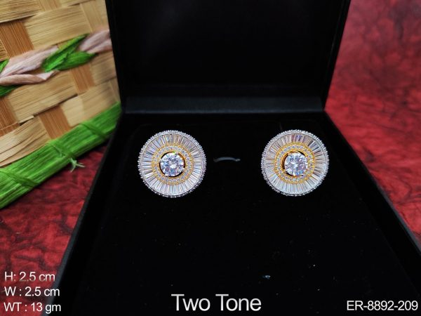 Beautiful Cz / AD Full white Stones Two Tone Polish Designer Fancy Style Party wear Earring / Tops