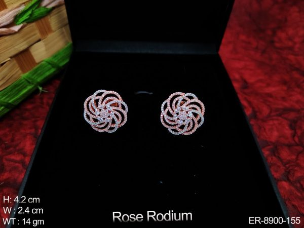 Beautiful Rose Rodium Full Cz / AD Stones Designer Fancy Style Party wear Earring / Tops / Studs