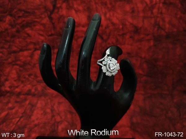 Beautiful Fancy Style Cz / AD Full white stones white Rodium Party wear Designer Party wear Finger Ring