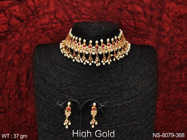 Beautiful Cz / Ad full white stones Clustered Pearl Tassels Designer High gold Polish Party wear Necklace Set