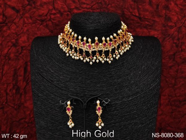 Cz / AD Full White Stones Clustered Pearl Beautiful Designer Fancy Style Party wear Choker Style Necklace Set