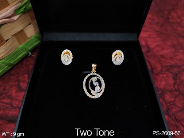 Two Tone Polish Beautiful Cz / AD full white stones Designer Fancy Party wear Pendant Set with Earring