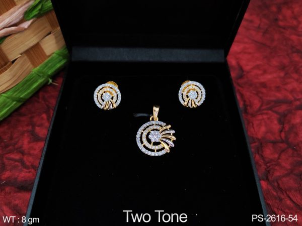 Two Tone Polish Full AD / Cz white Stones Designer Fancy Style Party wear Pendant Set with Earring