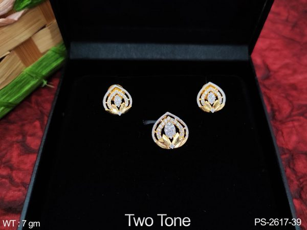 Beautiful Party wear Fancy Style Designer Full Cz / AD white stones Pendant Set with Earring
