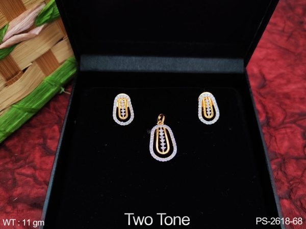 Party wear Beautiful Designer Full Cz / AD white Stones Fancy Style Pendant Set with Earring