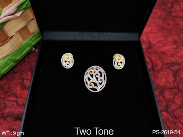 Beautiful Two Tone Polish Designer Full Cz / AD white stones Party wear Fancy Style Pendant Set with Earring