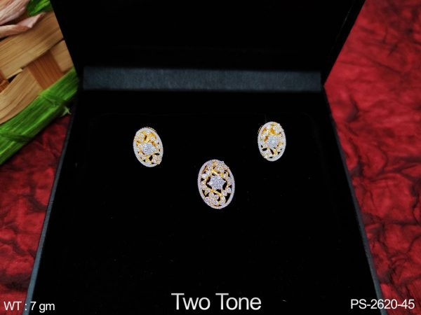 Designer Fancy Style Two Tone Polish full Cz / AD white stones Party wear Beautiful Pendant Set with Earring