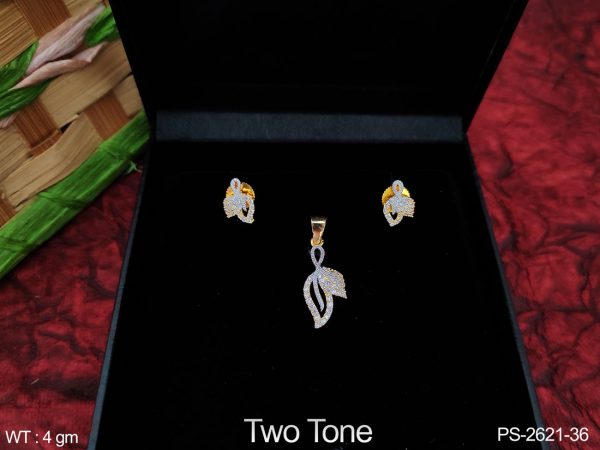Two Tone Polish Fancy Style Designer Beautiful Cz / AD full white stones Party wear Pendant Set with Earring