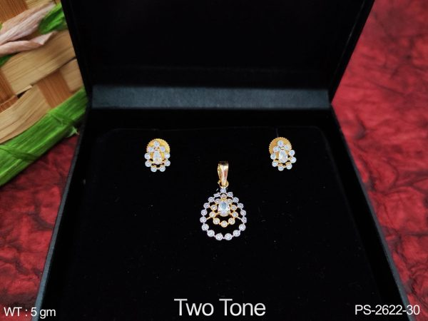 Designer Fancy Style Two Tone Polish Full white Cz / AD Stones Beautiful Party wear Pendant Set with Earring