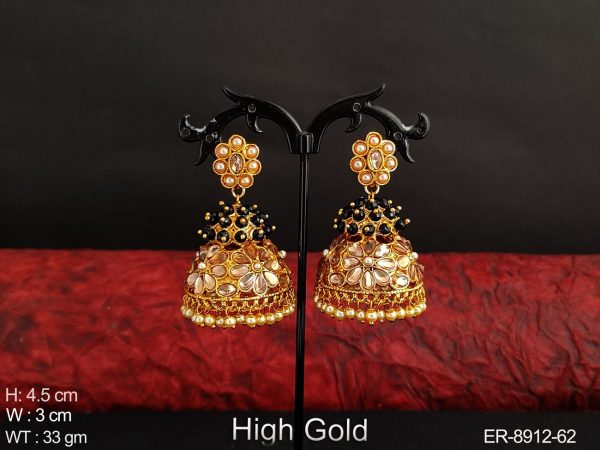 Antique Beautiful Full white Stones Clustered Pearl Designer High gold Polish Party wear Jhumka Earring