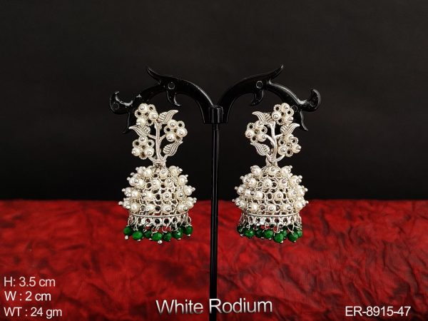 White Rodium Polish Beautiful Flower Design Clustered Pearl Designer Party wear Fancy Style Jhumka Earring