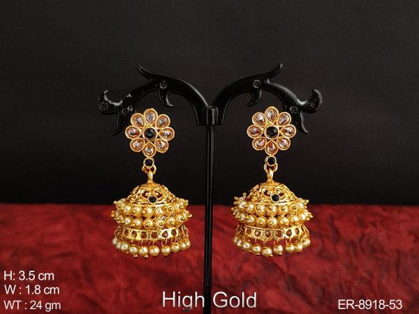 Antique full white stones fancy style High Gold polish party wear Beautiful Jhumka Earrings