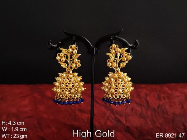 Clustered Pearl Antique High Gold Polish Designer fancy style Beautiful party wear Jhumka Earring
