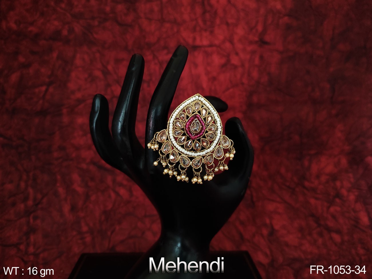 Beautiful Designer Fancy Style Antique Full White stones Party wear Finger Ring