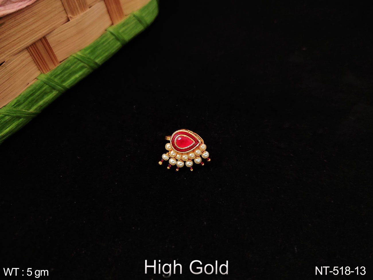High Gold Polish Antique Designer Fancy Style Party wear Clustered Pearl Beautiful Nath