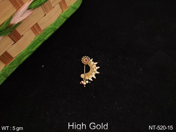 High Gold Polish Designer Clustered Pearl Fancy Party wear Antique Nath