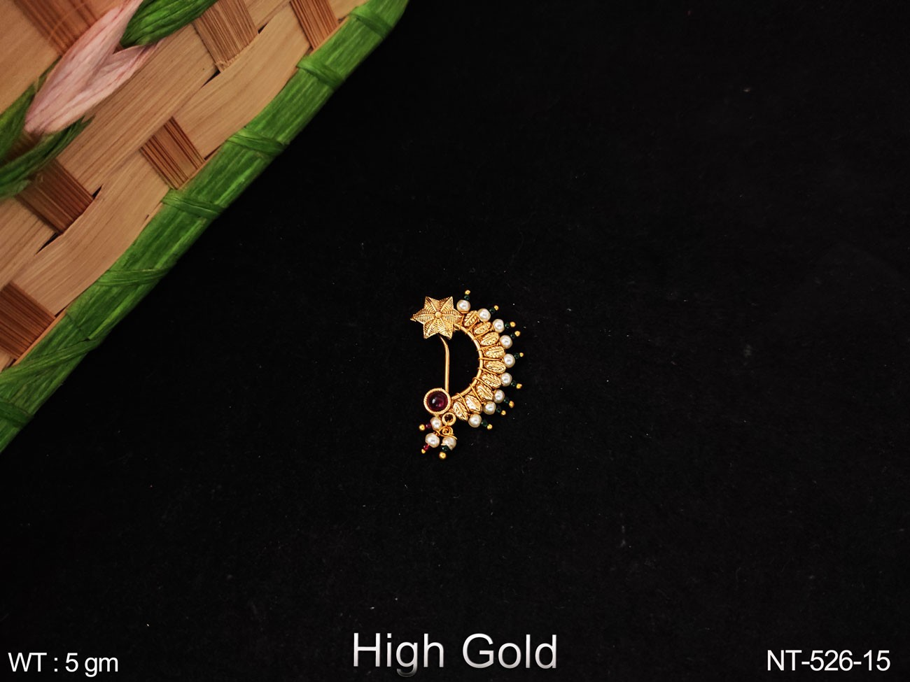 Designer clustered pearl High Gold Antique party wear Nath